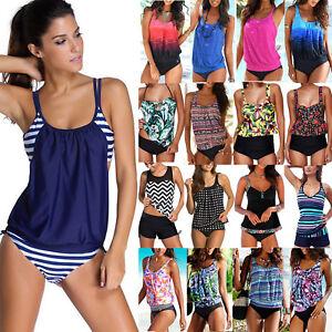 AU-Womens-Push-Up-Padded-Tankini-Bikini-Bathing-Suit-Swimsuit-Swimwear-Beachwear