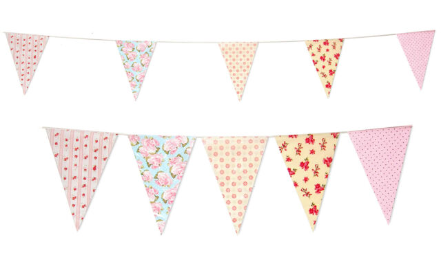 35 Flags Long Garden Bridal Baby Shower Party Bunting Vintage Print