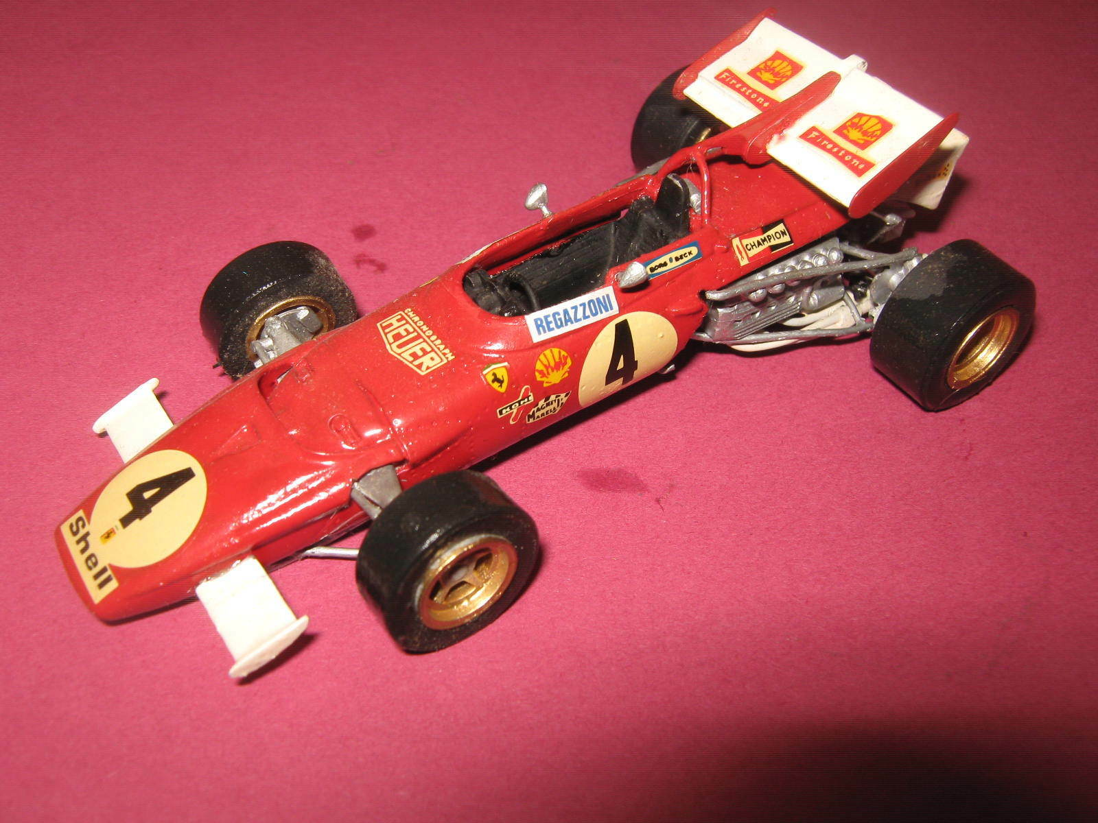 1 43 Ferrari 312b C. REGAZZONI 1970 Racing line handbuilt Car in Display Cabinet
