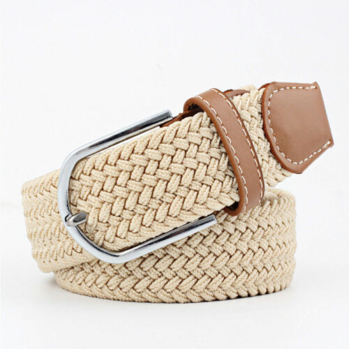 Men/'s Belt Elastic Stretch Waistband Woven Design Leather Tip Silver Buckle NEW