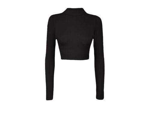 Femme Col Roulé Femme Crop Long Sleeve Plain Polo Court Stretch Top UK 8-14