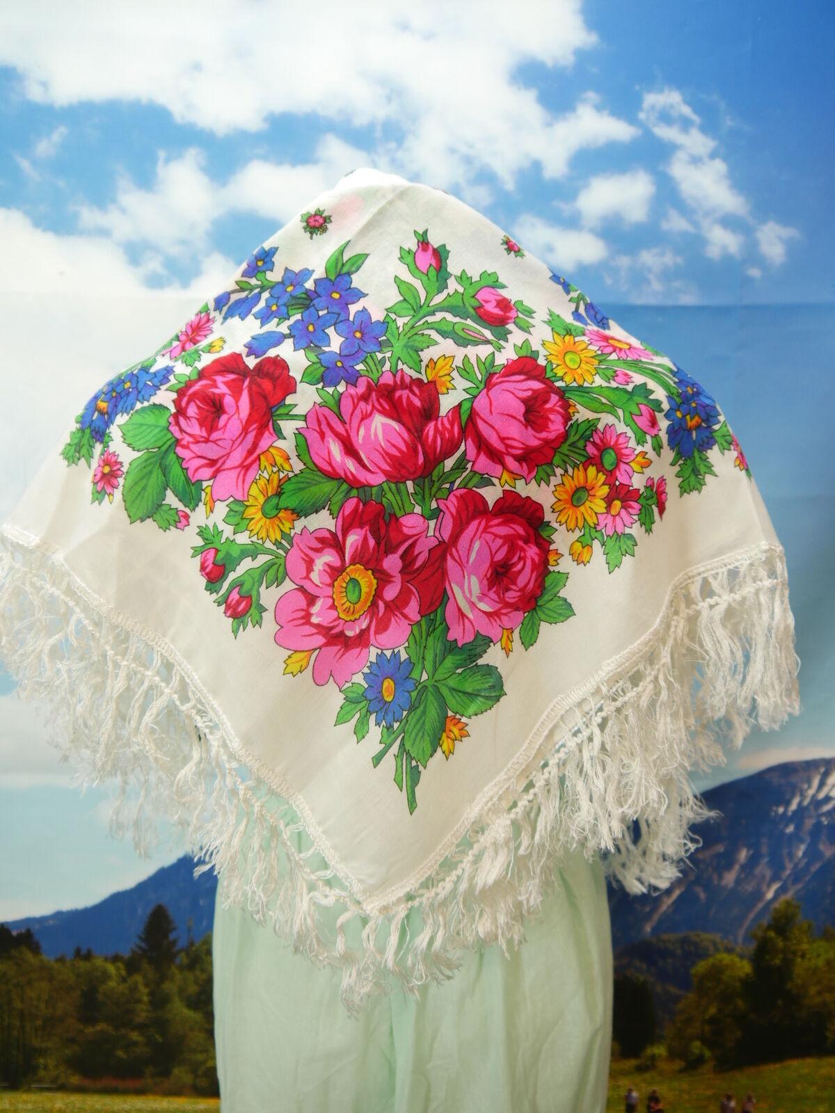 Ausdruckstarkes Fransentuch Polyacryl Dirndltuch Blumen Muster TT2181
