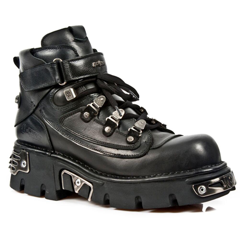 New Rock Stiefel Unisex Punk Gothic Stiefel - Style 654 S1 Schwarz