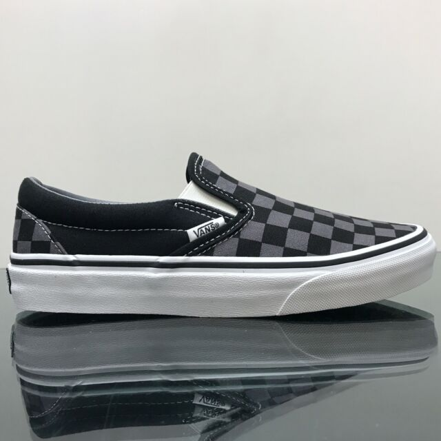 VANS CLASSIC SLIP ON CHECKERBOARD BLACK PEWTER CANVAS UNISEX TRAINERS