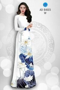 Ao Dai Traditional Vietnamese Long Dress Collections with Pants Silk 3D ADVN05052078