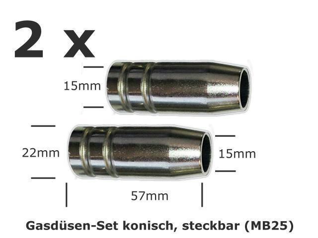 2 Stück Gasdüsen Set  zylindrisch steckbar für MIG//MAG Brenner MB25