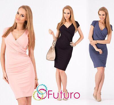 Stunning Women's Wiggle Dress V Neck Tunic Short Sleeve Sizes 8-18 8984