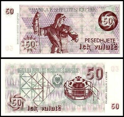 P#50b without serial no UNC Albania 50 Lek Valute Paper Money Banknote of 1992
