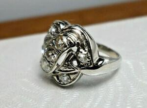 """Vintage Unique """"S"""" Shape 14K W Gold Triple Row Diamond Cluster Statemen Ring 4.5"""
