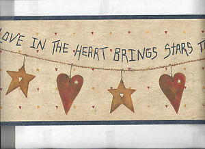 Details About Wallpaper Border Hearts Stars Country Primitive Rustic New Arrival
