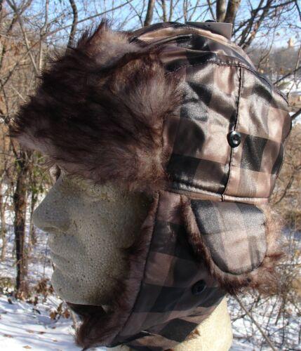 Tan Black Plaid Fur Trapper Hat Bomber Winter Cap Aviator Trooper Adjustable