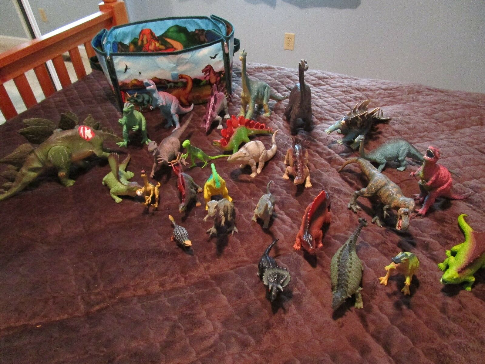Lot of 29 DINOSAURS Assortment Figures with Storage Tote Transforms to Playmat