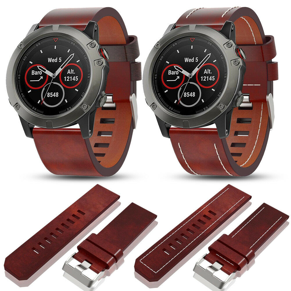 Genuine Leather Wrist Watch Band Bracelet Strap for Garmin Fenix 3 Fenix 5X  26mm