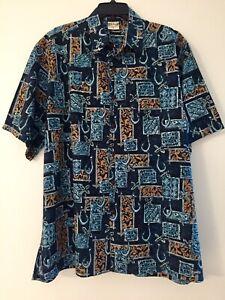 Go-Barefoot-Hawaiian-Shirt-XL-Blue-amp-Tan-Aloha-Tiki-Print-Wood-Buttons