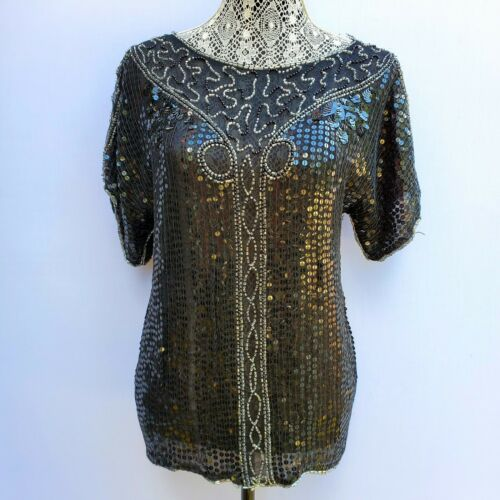 VTG 100% pure silk beaded and sequin covered blous