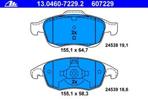 Bremsbelagsatz Scheibenbremse ATE 13.0460-7229.2