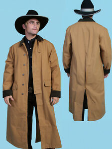 333093ca MEN'S WESTERN OLD WEST COWBOY SCULLY LONG DUSTER COAT BLACK BROWN ...