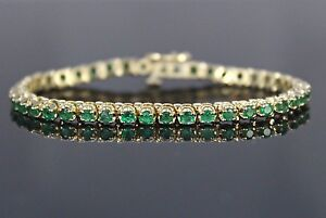 8-550-14K-Solid-Yellow-Gold-3-28ct-Colombian-Green-Emerald-6-039-039-Tennis-Bracelet
