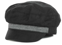 Private Label Newsboy Linen With Patterned Band Cap Hat $25 Size S/m