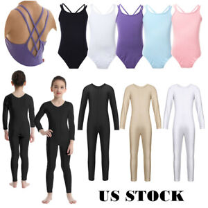 UK Girls Long Sleeve Ballet Dance Leotards Gymnastics Full Body Jumpsuit Costume