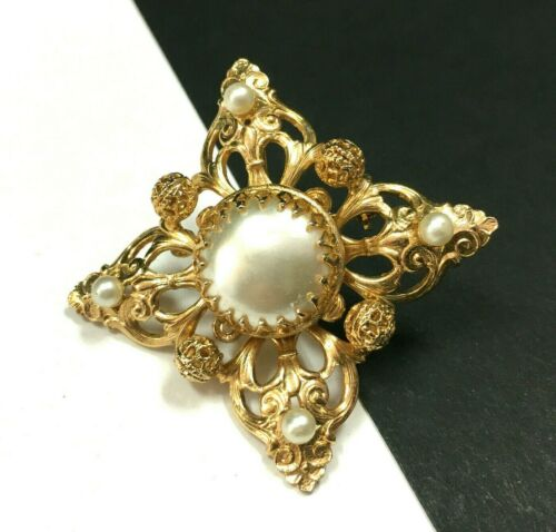 Vintage MOGHUL Pearl Brooch Pin Pendant Gold Plat… - image 1