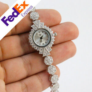 925-Sterling-Silver-Cubic-Zirconia-Luxury-TURKISH-Handmade-Lady-Watch-7-25-inch