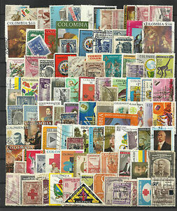 COLOMBIA-STAMP-COLLECTION-PACKET-of-100-DIFFERENT-Used-Stamps-NICE-SELECTION