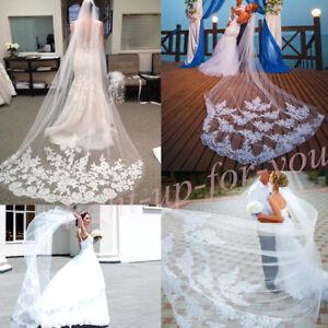 3 2m Ivory White Wedding Bridal Cathedral Veil Lace Applique Comb Plain Cut Edge Ebay