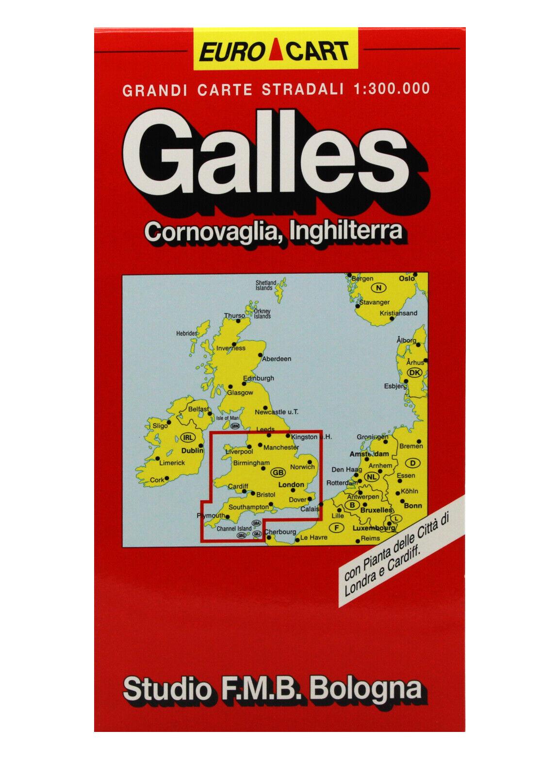 Cartina Stradale Inghilterra Del Sud.Galles Cornovaglia Inghilterra Cartina Stradale 1 300 000 Carta Mappa F M B Ebay