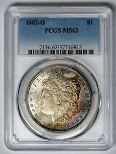 1882-O-Morgan-PCGS-MS62-Pretty-Textile-Toned-Silver-Dollar-Deep-Color-Crescent