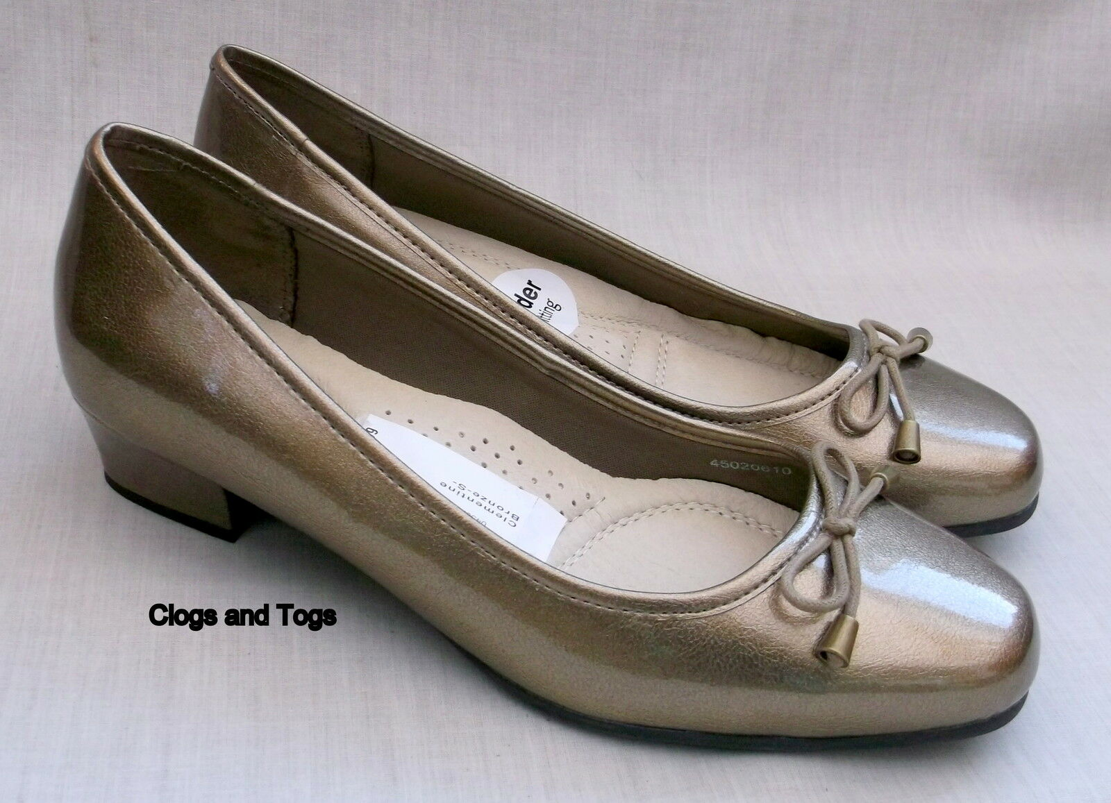 NEUF K by CLARKS CLÉMENTINE Femme Bronze chaussures vernies taille 5 38 wide fit