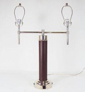 Double Post Table Desk Lamp Faux Leather Column W Power Outlet