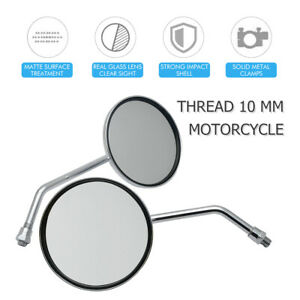 1Pair-Universal-Motorcycle-Rearview-Rear-View-Side-Round-Mirror-10mm-For-Harley