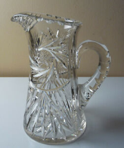 Antique-American-Brilliant-Hobstar-CUT-GLASS-PITCHER-VASE-8-5-034-tall