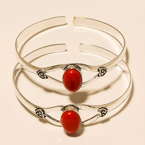 BEAUTIFUL-LOT-2P-CORAL-925-STERLING-SILVER-OVERLAY-BRACELET-CUFF-JEWELLERY