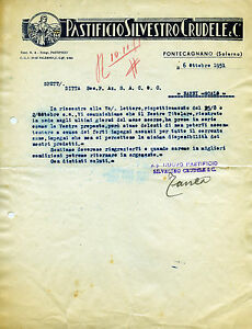 """Pubblicità lettera """" PASTIFICIO SILVESTRO CRUDELE & C.- PONTECAGNANO (SA) 1951 """" - Italia - Pubblicità lettera """" PASTIFICIO SILVESTRO CRUDELE & C.- PONTECAGNANO (SA) 1951 """" - Italia"""