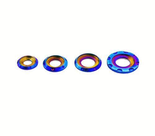 4Pcs Titanium Alloy Pad Washers Gaskets Shim Sheet  M6 M8 M10 Blue
