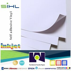 photo about Printable Sticker Vinyl titled Info over Sihl Printable White Shiny Sticker Vinyl for Inkjet 5 Sh, 8.5x11\