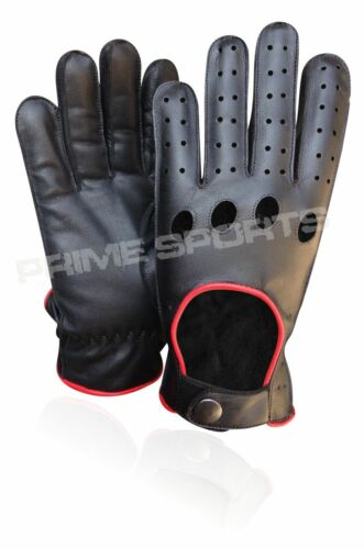 NEW REAL SOFT LEATHER MENS QUALITY DRIVING GLOVES STYLISH BLACK RED STRIPE 507