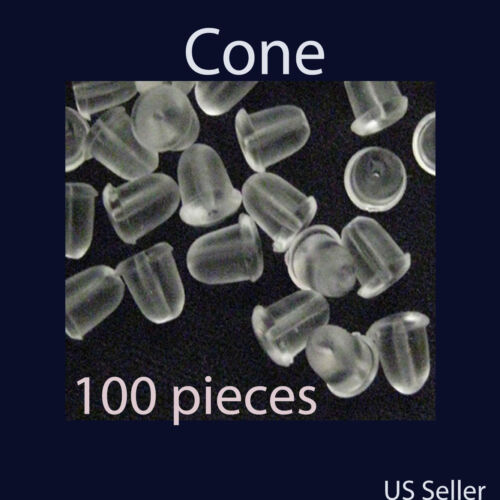 Cone Earring Back Stopper 5 mm Silicone Rubber 100 pcs 200 pcs US seller