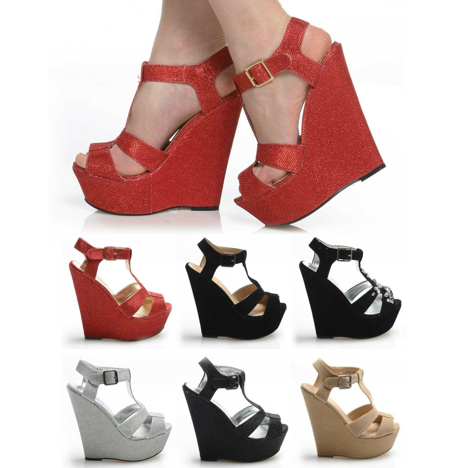 Moda jest prosta i niedroga THICK STRAP HIGH HEEL WEDGES PLATFORMS COLOURS SHOES CLUB PARTY EVENT STUNNING