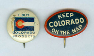 2 VERY OLD PIN BACKS ADV PUSH CO COLO MERCHANDISE   NOW ON SALE ... 6c4afc5a3