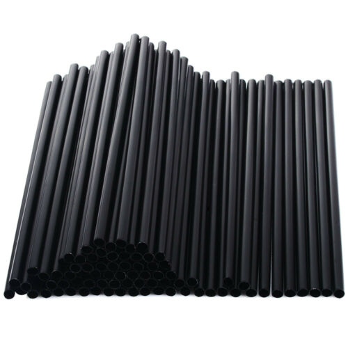 Details about  /100PCS Tea Party Long Coffee Straight Black Plastic Barware Drinking Straw