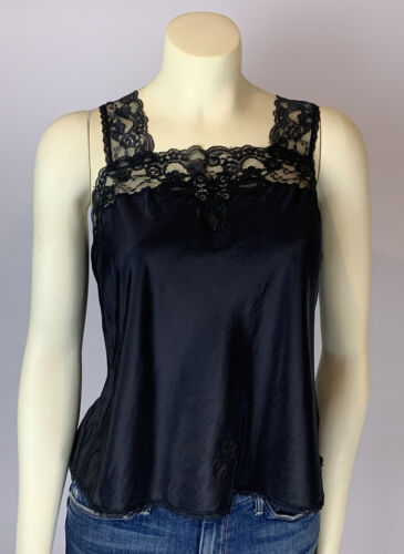 CHRISTIAN DIOR Vtg Black Lace Camisole SZ M