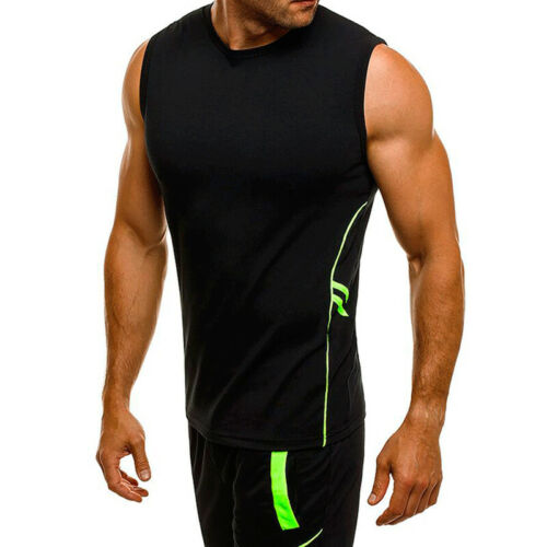 Mens Muscle Sleeveless Sport Gym T Shirt Tank Vest Tops Casual Summer Tee Size L