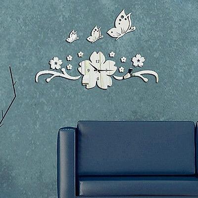 Butterfly Flower 3D DIY Wall Clock Modern Acrylic Mirror Wall Decal Art Stickers