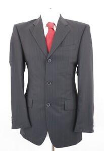 JOOP! Anzug Gr.94 schwarz Nadelstreifen Einreiher 2-Knopf -C96