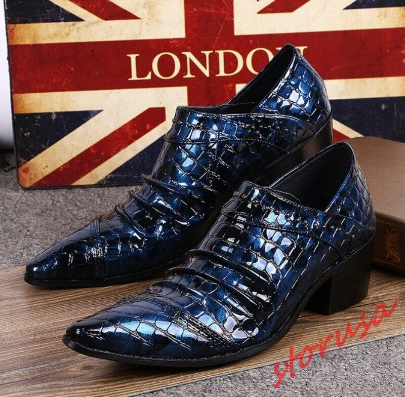 Uomo British Pointy Toe Cuban Heels Formal Dress Patent Pelle Pumps Pump Shoes Pumps Pelle 120cc4