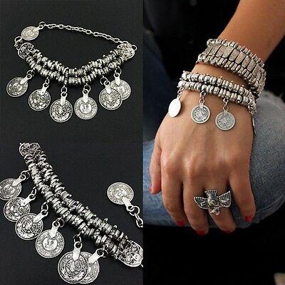 Silver Tribal Ethnic Coin Tassel Gypsy Festival Turkish Anklet Bracelet Jewelry