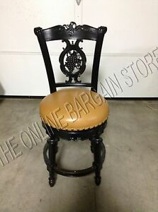 Frontgate Provencal Grape Wood Barstool Chair Leather